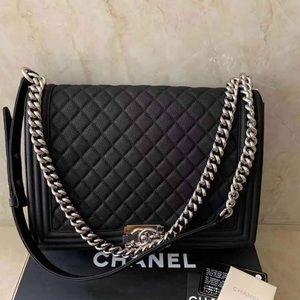 Chanel caviar large size leboy handbag
